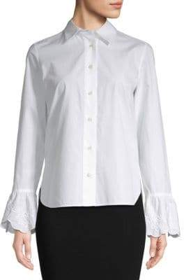Embroidered-Cuff Button Down Blouse