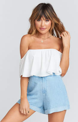 Show Me Your Mumu Chloe Cuff Shorts ~ Light Chambray