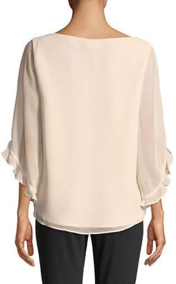 Iconic American Designer Cascading Ruffle-Sleeve Chiffon Blouse