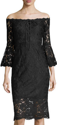 Jax Lace Off The Shoulder Dress With Bell Sleeves