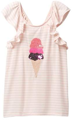 Poof Ice Cream Striped Ruffle Top (Big Girls)