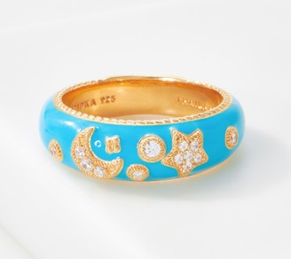 Judith Ripka 14K Gold Clad Enamel & Diamonique Band Ring