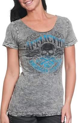 Affliction Women's Speed Trap Reversible Scoop Neck T-shirt Lava (M)