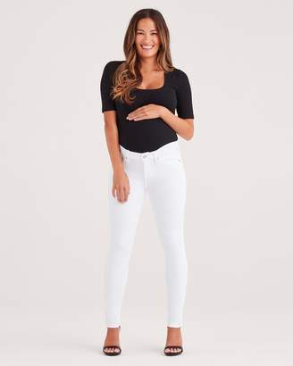 7 For All Mankind Maternity Ankle Skinny in Clean White