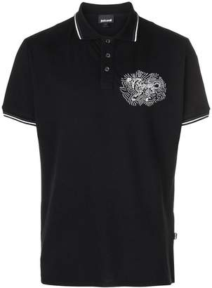 Just Cavalli leopard embroidered detail polo shirt