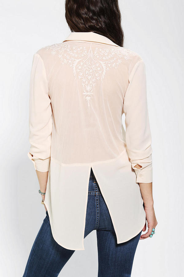 Urban Outfitters Pins And Needles Embroidered Mesh-Back Blouse