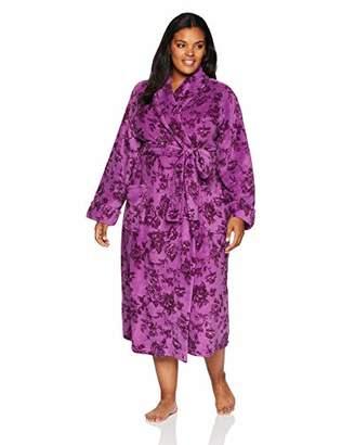 Arabella Women's Plus Size Printed Floral Plush Robe