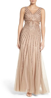 Women's Adrianna Papell Embellished Mesh Fit & Flare Gown $369 thestylecure.com