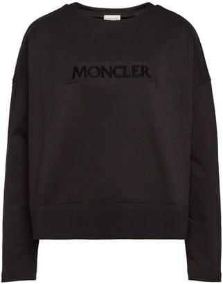 Moncler Cotton Sweatshirt with High-Low Hem
