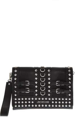 Love Moschino Black Faux Leather Bag With Metal Studs And Buckles
