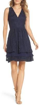 Eliza J Sleeveless Lace Tiered Dress