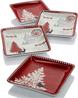 222 Fifth Northwood Cottage Set of 4 Square Appetizer Plates