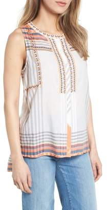 Caslon Embroidered Cotton Sleeveless Blouse