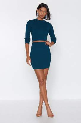 Nasty Gal Keep Knit Together Crop Top and Skirt Set