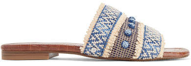 Sam Edelman - Brandon Embellished Raffia Slides - Blue
