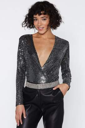 Nasty Gal Having a Disco Ball Plunging Bodysuit
