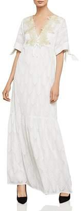 BCBGMAXAZRIA Alysa Embroidered Tie-Sleeve Maxi Dress