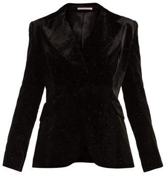 The Vampire's Wife - Single Breasted Glitter Embellished Velvet Blazer - Womens - Black
