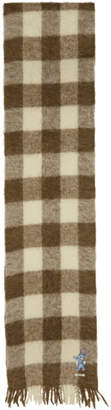 Gucci Brown and White Long Plaid Wool Scarf