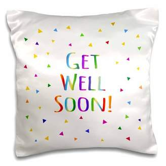 3dRose Get Well Soon colorful rainbow text with bright multicolored triangles - Pillow Case, 16 by 16-inch