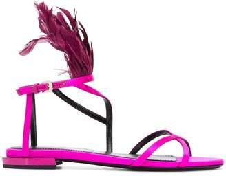 Lanvin feather-embellished sandals