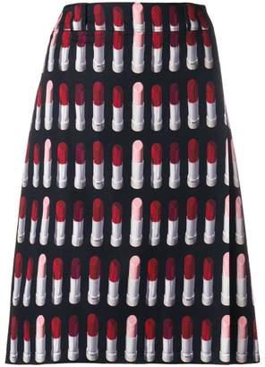Prada lipstick print A-line skirt