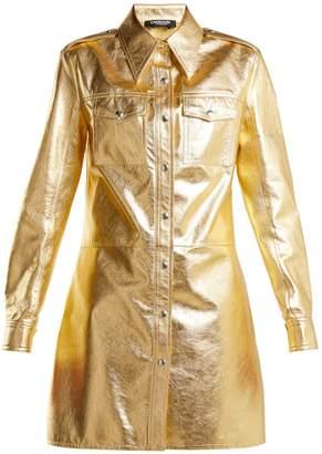 Calvin Klein Point-collar leather shirtdress