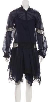 Just Cavalli Embroidered Midi Dress w/ Tags Navy Embroidered Midi Dress w/ Tags