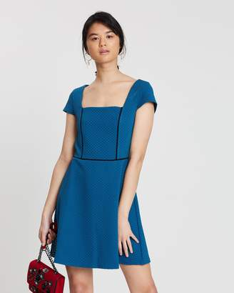 Miss Selfridge Piped Fit-and-Flare Dress