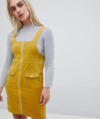 Pieces Zip Front Pinafore Dress