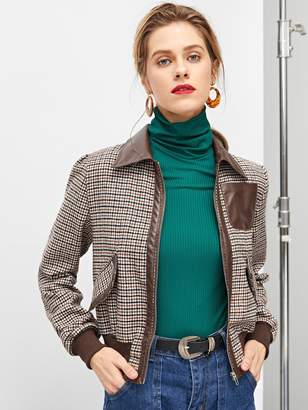 Shein Pocket Patched Zip Up Houndstooth Jacket