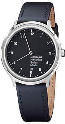 Mondaine Unisex Helvetica Leather Strap Watch