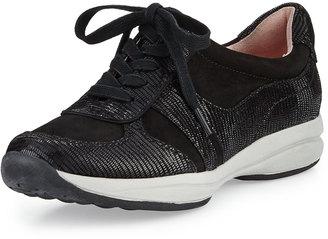 Taryn Rose Arvella Traveler Lizard-Print Sneaker, Black $159 thestylecure.com