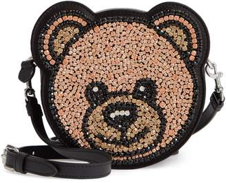 Moschino Crystal Teddy Leather Crossbody Bag