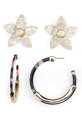 BaubleBar 2-Pack Flower Studs & Tassiana Hoop Earrings