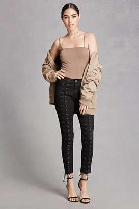 FOREVER 21+ Pixie and Diamond Lace-Up Jeans $68 thestylecure.com
