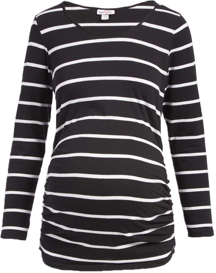 Black & White Long Sleeve Scoop Neck Maternity Top - Women & Plus