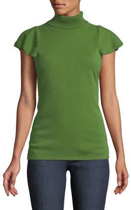 Neiman Marcus Cashmere Short Ruffle-Sleeve Turtleneck Sweater