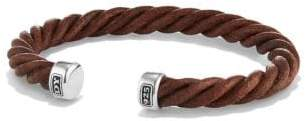 David Yurman Davidyurman Cable Cuff Leather Bracelet In Brown, 6Mm