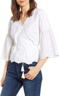Cupcakes And Cashmere Eyelet Embroidered Wrap Top