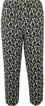 Marni - Cropped Floral-print Crepe Slim-leg Pants - Green