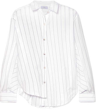 Clu Asymmetric Striped Cotton-poplin Shirt - White