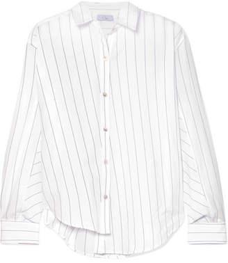 Clu Asymmetric Striped Cotton-poplin Shirt - White
