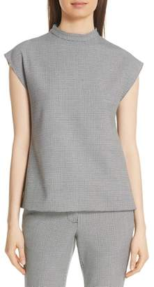 Tibi Houndstooth Check Structured Top