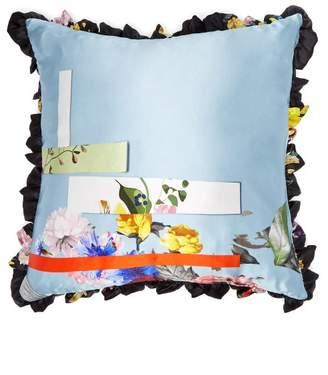 Preen by Thornton Bregazzi Floral Print Silk Satin Cushion - Womens - Blue Multi