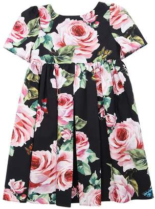 Dolce & Gabbana Roses Cotton Poplin Short Sleeve Dress