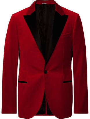 Lanvin Claret Slim-Fit Satin-Trimmed Cotton-Velvet Tuxedo Jacket - Men - Red