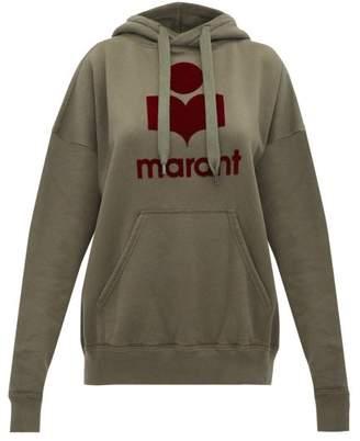 Etoile Isabel Marant Mansel Flocked Logo Cotton Blend Sweatshirt - Womens - Khaki Multi
