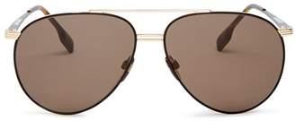 Burberry Men's Brow Bar Aviator Sunglasses, 60mm