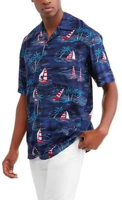 George Big Men's Printed Rayon Short Sleeve Woven Shirt